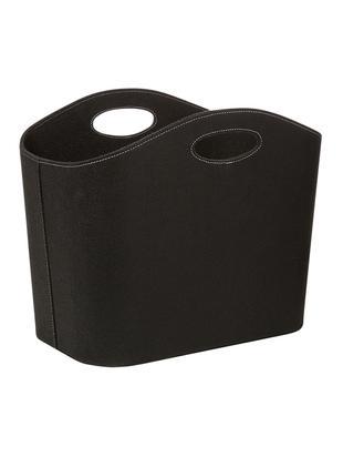 Kosz do przechowywania Mascha, Filc wykonany z recyklingowego tworzywa sztucznego, Czarny, D 45 x S 30 cm