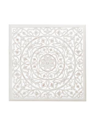 Ręcznie wykonana dekoracja ścienna Malika, Płyta pilśniowa (MDF), Biały, antyczne wykończenie, S 100 x W 100 cm