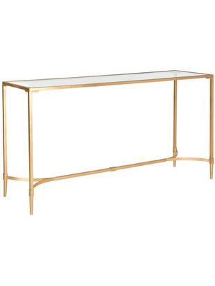 Konsola Abigail, Stelaż: żelazo lakierowane, Blat: szkło, Odcienie złotego, transparentny, S 160 x W 81 cm