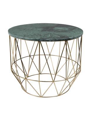 Mesa auxiliar redonda de mármol Boss, Tablero: mármol, Estructura: metal, latón, Tablero: verde, veteado Patas: latón, Ø 51 x Al 42 cm