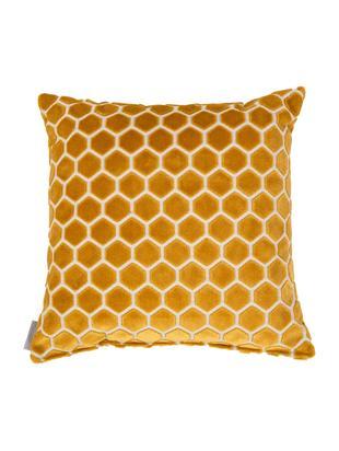 Poduszka z wypełnieniem Monty, Tapicerka: 72%wiskoza, 23%polieste, Żółty, biały, D 45 x S 45 cm