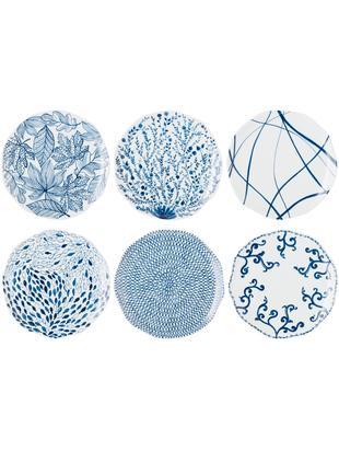 Speiseteller-Set Vassoio, 6-tlg., Porzellan, Blau, Weiss, Ø 27 cm