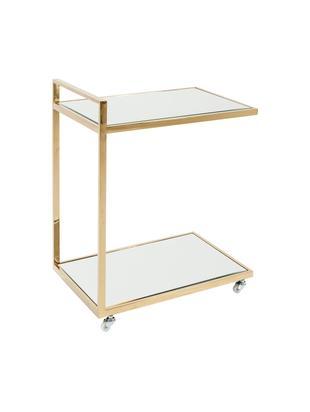 Bar cart Classy goudkleurig met spiegelglas, Frame: vermessingd edelstaal, Plateaus: gespiegeld glas, Wieltjes: kunststof, Frame: goudkleurig. Plateaus: glas. Wieltjes: wit, 50 x 64 cm