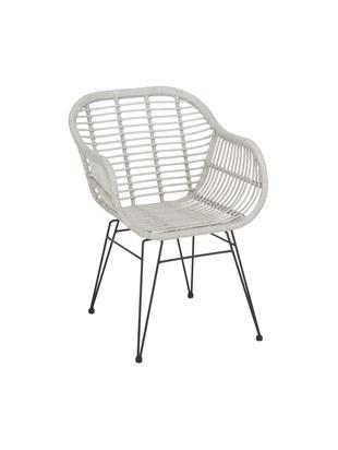 Krzesło z podłokietnikami Costa, 2 szt., Stelaż: metal malowany proszkowo, Siedzisko: jasny szary, nakrapiany Stelaż: czarny, matowy, S 59 x G 61 cm