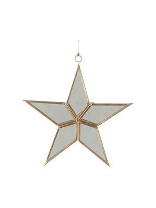 Oggetto da decorazione Stern, Cornice: metallo, Superficie dello specchio: lastra di vetro, Dorato, bianco, L 15 x A 16 cm