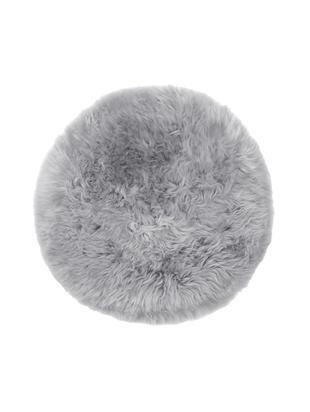 Cojín de asiento de oveja Oslo, Parte delantera: 100%piel de oveja, Parte trasera: 100%cuero cuertido, Gris claro, Ø 37 cm