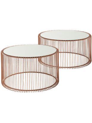 Metall-Couchtisch 2er-Set Wire mit Glasplatte, Gestell: Stahl, pulverbeschichtet, Tischplatte: Sicherheitsglas, Kupferfarben, Sondergrößen