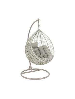 Hangstoel Amirantes, Frame: gepoedercoat staal, Zitvlak: synthetische vezels, Bekleding: polyester, Grijs, crèmewit, Ø 105 x H 198 cm