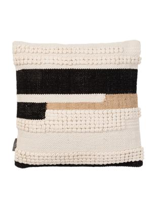 Kissenhülle Winti, 95% Baumwolle, 5% Polyester, Cremefarben, Schwarz, Hellbraun, 45 x 45 cm