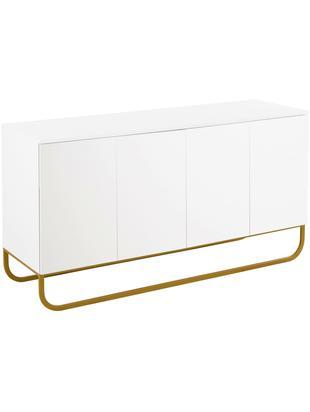 Klassiek dressoir Sanford in wit, Frame: gelakt MDF (medium-densit, Frame: mat wit. Onderstel: mat goudkleurig, 160 x 83 cm