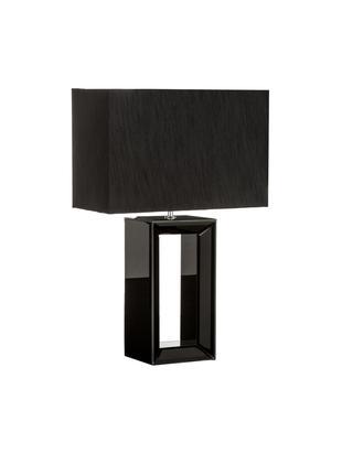 Tischleuchte Serafina aus lackiertem Spiegelglas, Lampenfuß: Spiegelglas, Lampenschirm: Textil, Lampenfuß: Schwarz, verspiegelt<br>Lampenschirm: Schwarz, 38 x 58 cm
