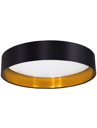LED plafondlamp Marbella van linnen, Diffuser: kunststof, Zwart, goudkleurig, Ø 41 x H 10 cm