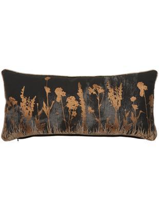 Poduszka z wypełnieniem Wild Floral, Tapicerka: bawełna, Czarny, antracytowy, odcienie miedzi, S 30 x D 65 cm