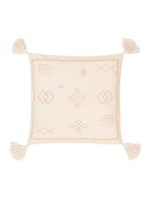 Funda de cojín bordada Huata, Algodón, Beige, rosa, amarillo, An 45 x L 45 cm
