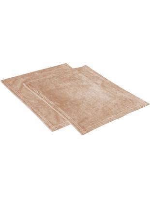Samt-Tischsets Simone, 2 Stück, Polyestersamt, Beige, 35 x 45 cm
