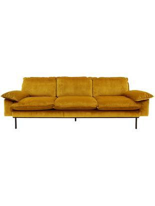 Samt-Sofa Retro (4-Sitzer), Bezug: Polyestersamt 86.000 Sche, Korpus: Mitteldichte Holzfaserpla, Füße: Metall, pulverbeschichtet, Samt Ocker, B 245 x T 83 cm