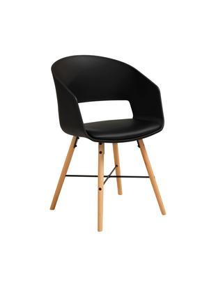 Armlehnstühle Luna im Skandi Design, 2 Stück, Beine: Buchenholz, lackiert, Schwarz, B 52 x T 52 cm