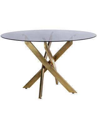 Stół do jadalni ze szklanym blatem George, Blat: szkło przyciemniane, Nogi: metal malowany proszkowo, Czarny, odcienie mosiądzu, Ø 120 x W 75 cm