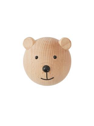 Gancio da parete Bear in legno di faggio, Legno di faggio, Legno, nero, Larg. 5 x Alt. 5 cm
