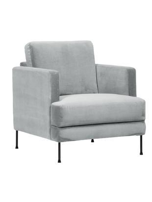 Fluwelen fauteuil Fluente, Bekleding: fluweel (hoogwaardig poly, Frame: massief grenenhout, Poten: gelakt metaal, Lichtgrijs, B 76 x D 83 cm