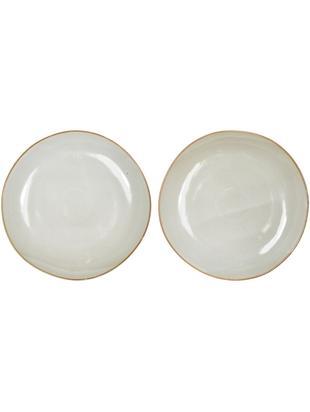 Piatto piano fatti a mano Thalia 2 pz, Ceramica, Crema con bordo scuro, Ø 27 cm