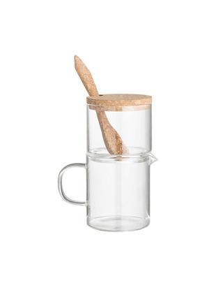Melk- en suikerset Pot, 3-delig, Glas, kurk, Transparant, bruin, Verschillende formaten