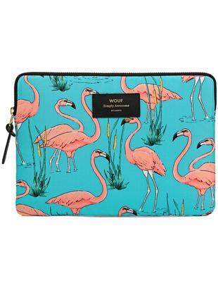 Custodia per computer portatile Flamingos per MacBook Pro 13 pollici, Esterno: blu, rosa Interno: nero Etichetta: nero, con caratteri dorati, L 34 x A 25 cm