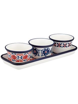 Set da servizio Festa, 4 pz., New bone china, Rosso, tonalità blu, bianco, Ø 10 x Alt. 6 cm