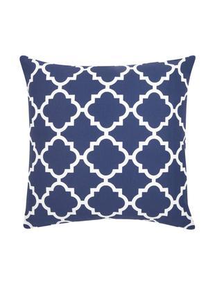 Kissenhülle Lana mit grafischem Muster, Baumwolle, Marineblau, Weiß, 45 x 45 cm