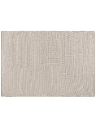 Handgewebter Wollteppich Uno, Flor: 60% Wolle, 40% Polyester, Creme, B 120 x L 170 cm (Größe S)