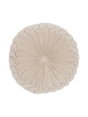 Okrągła poduszka  z aksamitu z wypełnieniem Kanan, Kremowy, Ø 40 x W 10 cm