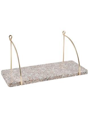 Granit-Wandregal Porter, Rostfreier Stahl, beschichtet, Granit, Beige, Goldfarben, 40 x 18 cm