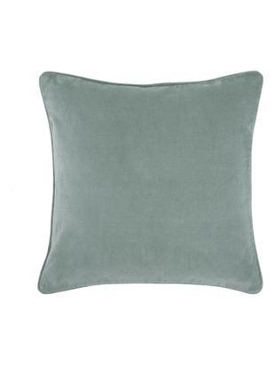 Poszewka na poduszkę z aksamitu Dana, 100% aksamit bawełniany, Szałwiowa zieleń, S 40 x D 40 cm