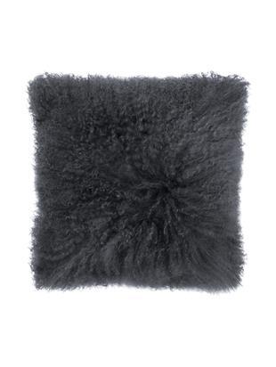 Poduszka ze skóry owczej, z długim włosiem Curly, Ciemnoszary, S 35 x D 35 cm
