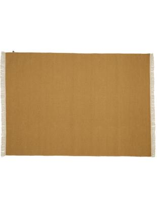 Ręcznie tkany dywan z wełny z frędzlami Rainbow, Brunatnożółty, S 140 x D 200 cm