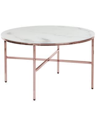 Tavolino da salotto con piano in vetro Antigua, Piano d'appoggio: vetro smerigliato con lam, Struttura: metallo zincato, Bianco-grigio marmorizzato, rosa dorato, Ø 78 x Alt. 45 cm