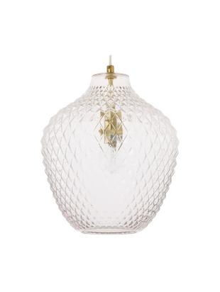 Lampada a sospensione in vetro Lee, Paralume: vetro, Baldacchino e rilegatura: ottone Paralume: trasparente, Ø 27 x Alt. 33 cm