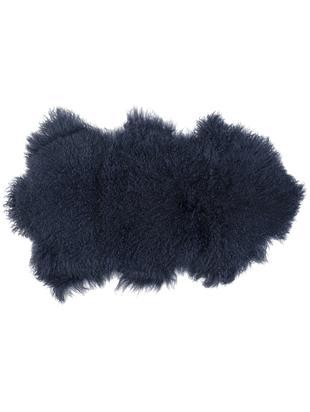 Pelle di pecora a pelo lungo Curly, Vello: 100% pelle di pecora, Retro: 100% pelle, conciata senz, Blu scuro, Larg. 60 x Lung. 80 cm