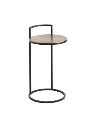 Okrągły stolik pomocniczy z metalu Circle, Blat: metal powlekany, Stelaż: metal lakierowany, Odcienie mosiężnego, antyczne wykończenie, czarny, matowy, Ø 35 x W 66 cm