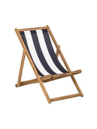 Sedia a sdraio Zoe, Struttura: legno di acacia oliato, Bianco, blu, Larg. 59 x Prof. 91 cm