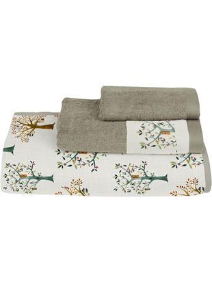 Set de toallas Trees, 3pzas., Parte delantera: algodón, Parte trasera: poliéster, Multicolor, Tamaños diferentes