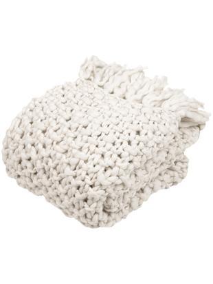 Grobstrick-Plaid Liva, 50% Wolle, 50% Acryl mit leicht rauer Haptik, Naturweiss, 130 x 170 cm