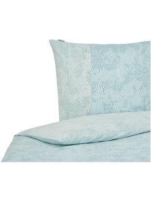 Baumwollsatin-Bettwäsche Impress, gemustert, Webart: Satin, Blau, 135 x 200 cm