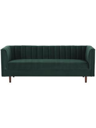 Samt-Sofa Paula (3-Sitzer), Bezug: Samt (Polyester) 28.000 S, Gestell: Kiefernholz, Füße: Kautschukholz, Samt Dunkelgrün, 199 x 77 cm