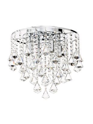 Deckenleuchte Dorchester mit Glaskristallen, Baldachin: Metall, verchromt, Transparent, Chrom, Ø 50 x H 50 cm