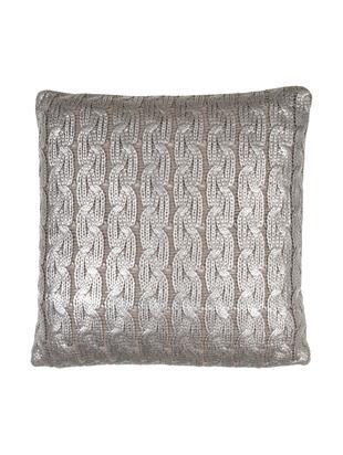 Strick-Kissenhülle Trenes schimmernd/glänzend in Taupe und Silber, Acryl, Taupe, Silberfarben, 45 x 45 cm