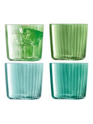Vasos de agua soplados Gemas con alivio de ranura, juego de 4, Vidrio soplado artesanalmente, Verde, Ø 8 x Al 7 cm