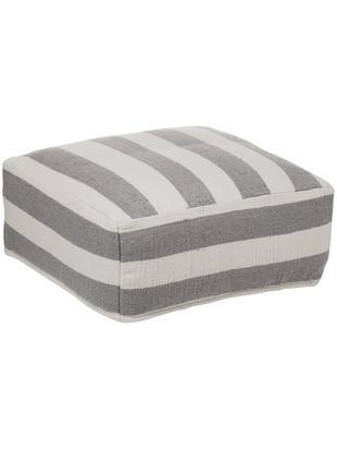 Handgewebtes In- und Outdoor-Bodenkissen Lani, Bezug: Polyester, recycelt, Grau, Ecru, 63 x 30 cm