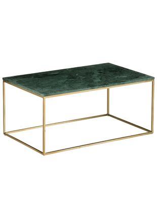 Marmor-Couchtisch Alys, Tischplatte: Marmor, Gestell: Metall, pulverbeschichtet, Tischplatte: Grüner MarmorGestell: Goldfarben, glänzend, 80 x 45 cm