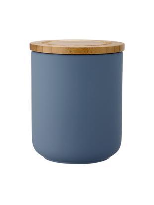 Contenitore con coperchio Stak, Contenitore: ceramica, Coperchio: legno di bambù, Blu opaco, bambù, Ø 10 x Alt. 13 cm